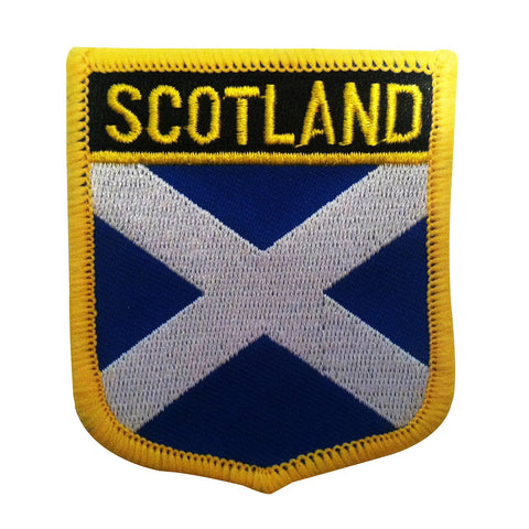 "Scotland Flag Shield Sew / Iron-On Patch (2.75"" x 2.35"")"