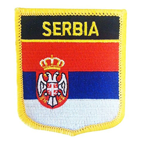 "Serbia Flag Shield Sew / Iron-On Patch (2.75"" x 2.35"")"
