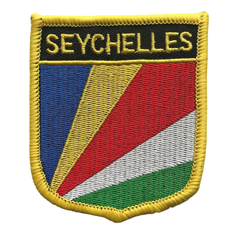 "Seychelles Flag Shield Sew / Iron-On Patch (2.75"" x 2.35"")"
