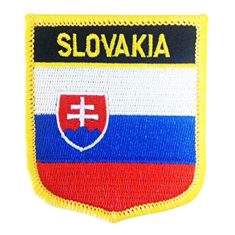"Slovakia Flag Shield Sew / Iron-On Patch (2.75"" x 2.35"")"
