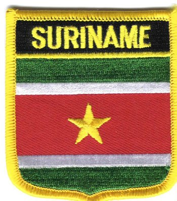 "Suriname Flag Shield Sew / Iron-On Patch (2.75"" x 2.35"")"