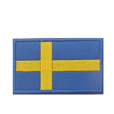 "Sweden Flag Tactical Patch w/ Hook & Loop (2"" x 3"")"