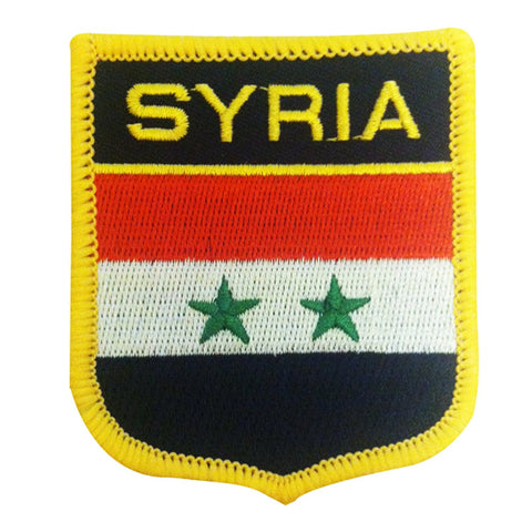 "Syria Flag Shield Sew / Iron-On Patch (2.75"" x 2.35"")"