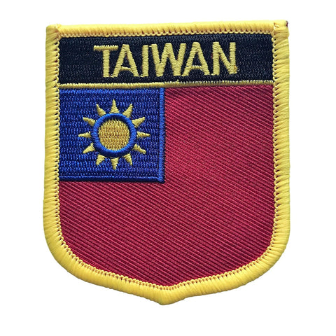 "Taiwan Flag Shield Sew / Iron-On Patch (2.75"" x 2.35"")"