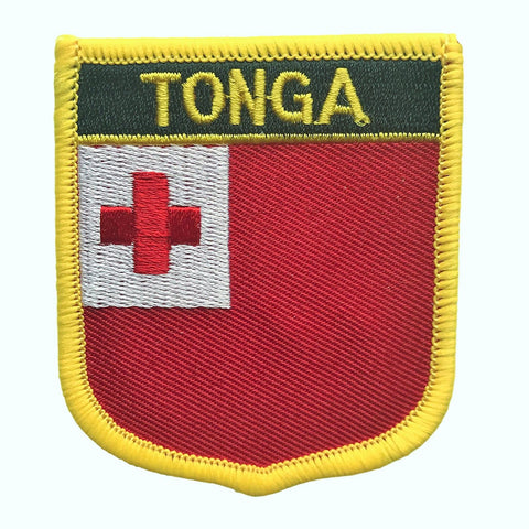 "Tonga Flag Shield Sew / Iron-On Patch (2.75"" x 2.35"")"