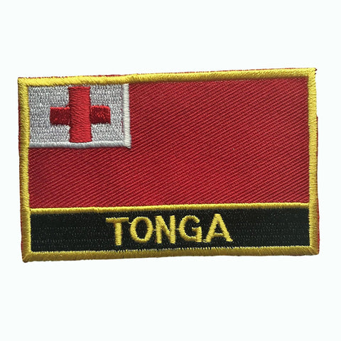"Tonga Flag Sew / Iron-On Patch (2"" x 3"")"