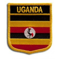 "Uganda Flag Shield Sew / Iron-On Patch (2.75"" x 2.35"")"