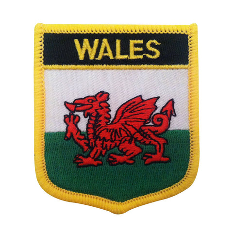 "Wales Flag Shield Sew / Iron-On Patch (2.75"" x 2.35"")"