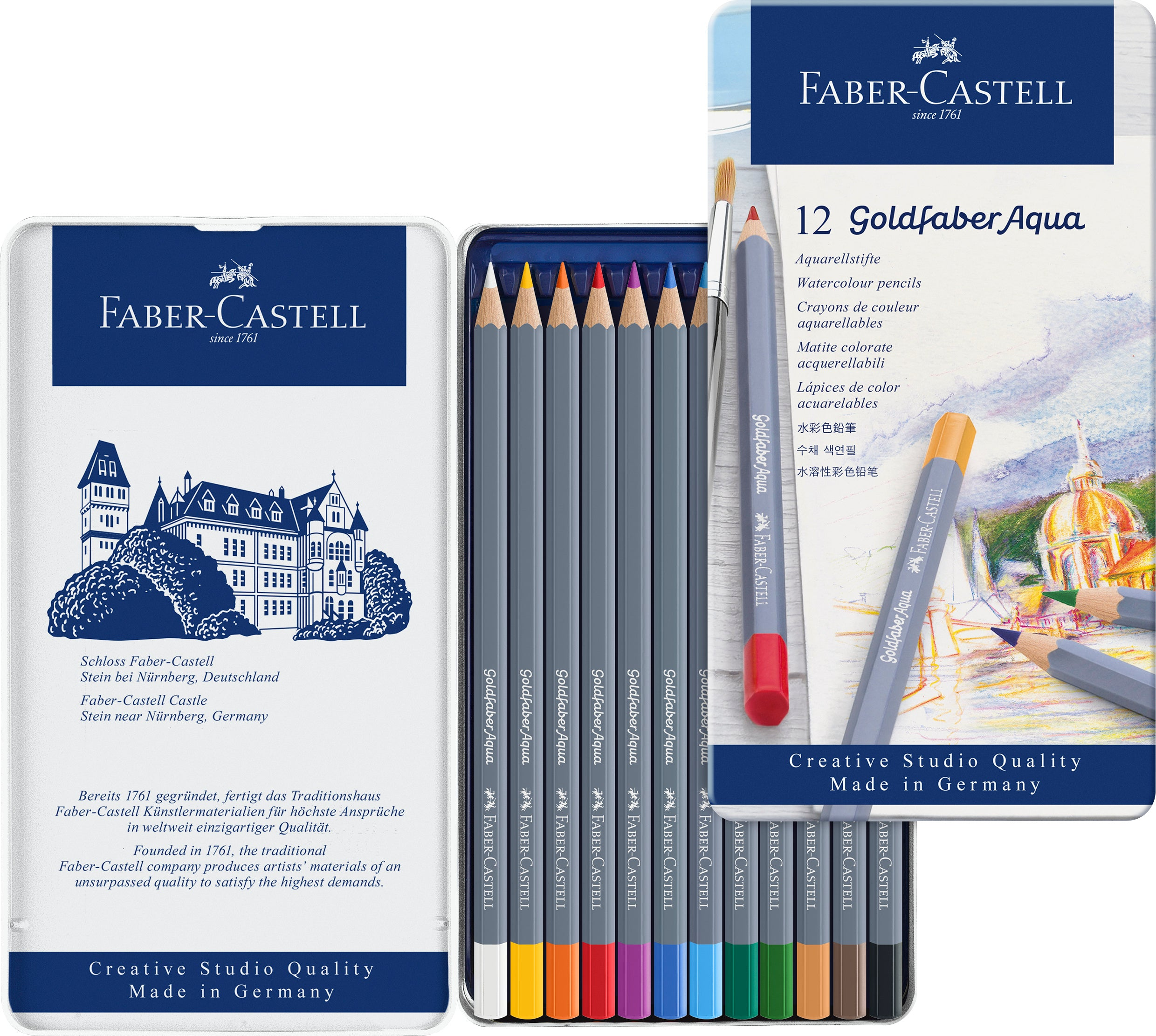 Goldfaber Aqua Watercolor Pencils - 12 Count Tin