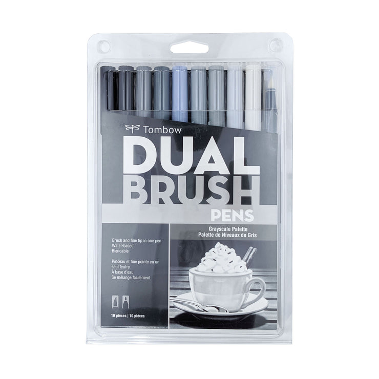 Dual Brush Pens - Grayscale (10 Pack)