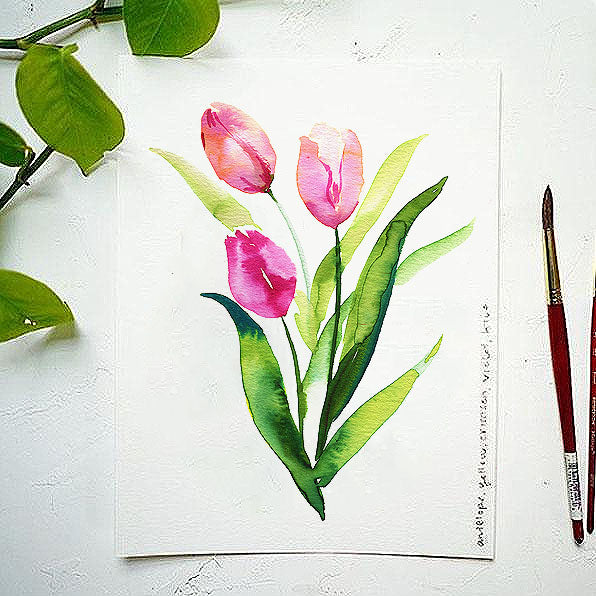 Tulips Bonus Watercolor Kit
