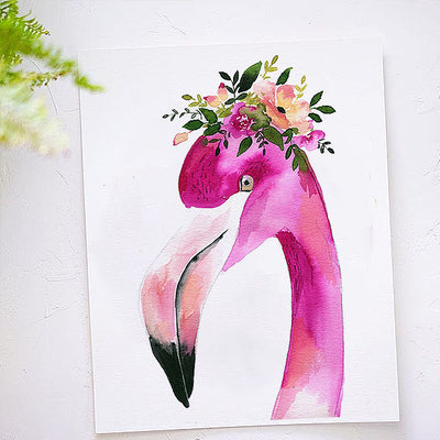 Floral Flamingo Watercolor Kit