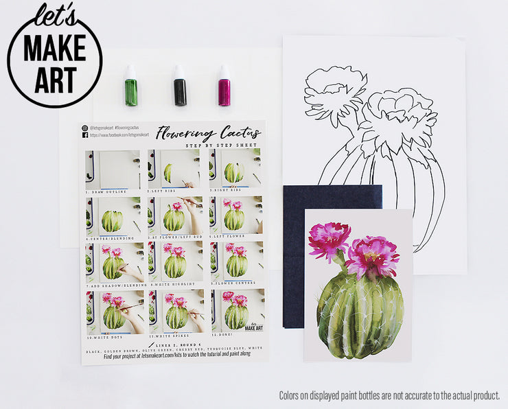 Flowering Cactus Watercolor Kit
