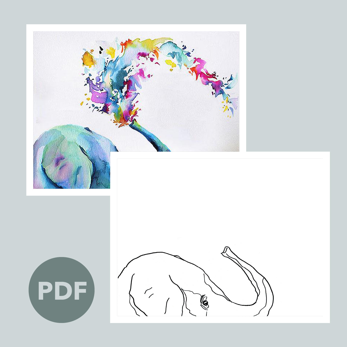 Rainbow Elephant Outline