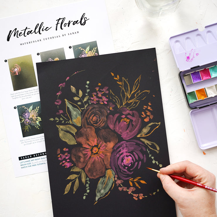 Metallic Florals Watercolor Kit