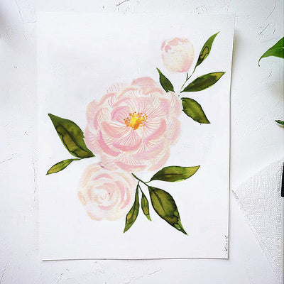 Pink Peonies Watercolor Kit