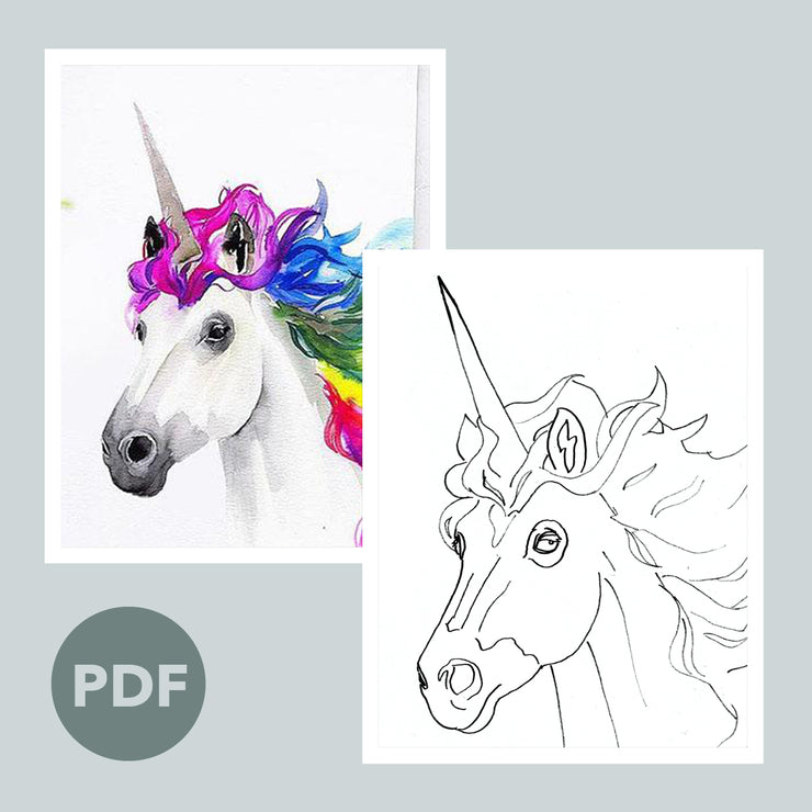 Rainbow Unicorn Outline