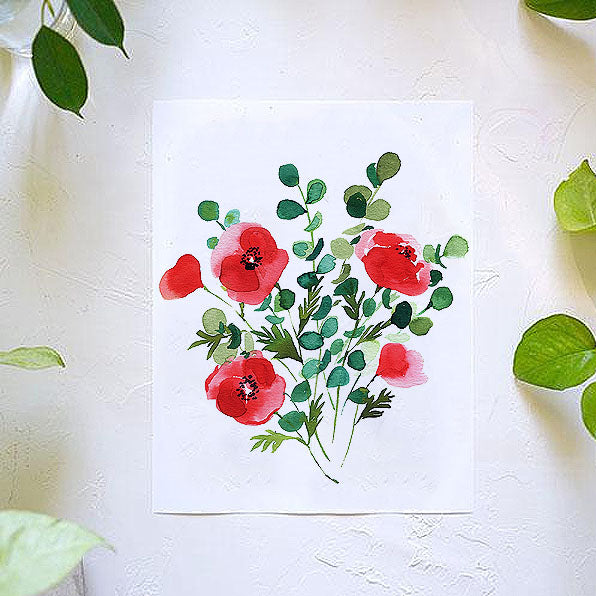 Red Poppies Watercolor Kit