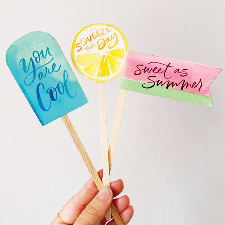 Summer Stir Sticks Lettering Kit