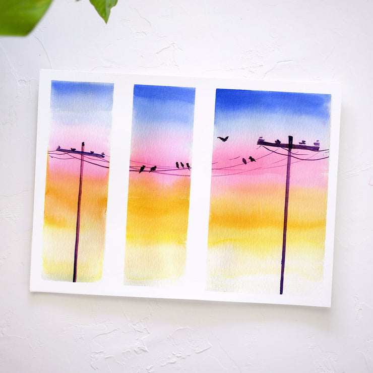 Sunset Powerlines Watercolor Kit
