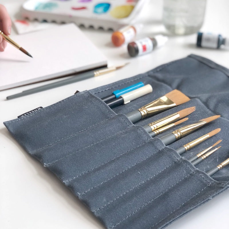 Handmade Waxed Canvas Brush Roll