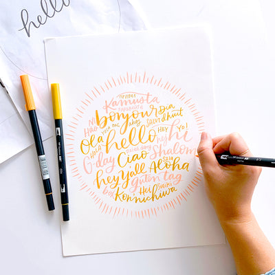 Hello Around The World Lettering Kit