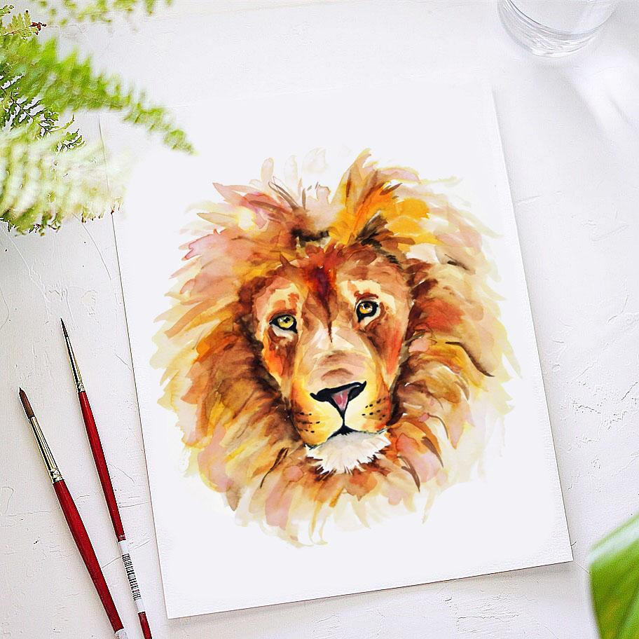 Lion Watercolor Kit Let S Make Art You can use it anywhere you want, but you must (must!!!) give credit and link to my profile. lion watercolor kit