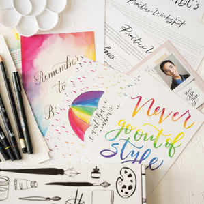 close up of script lettering art box projects
