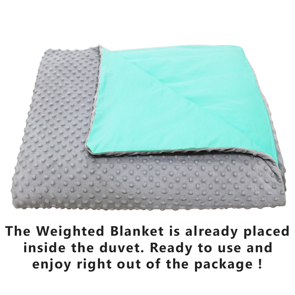 Sea Green sold on Amazon: CMFRT Cozy Weighted Blanket Set with Removable Duvet Cover for Teens , Get Quality Rest and Sleep Better