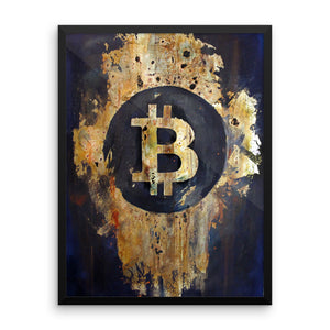 Burnt gold leaf Bitcoin print