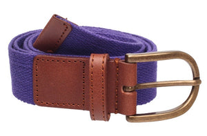 BELTS - Poly Web and Leather with Brass Buckle