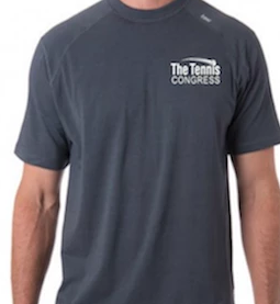 """Tennis Congress"" Carrollton Performance Crew Men's Tee (Gunmetal)"