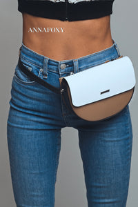 PREMIUM BUMBAG BELT BAG BEIGE/WHITE BELT BAG -AnnaFoxyCanada