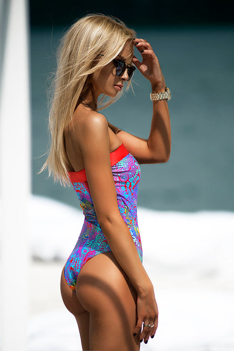 NEON SKULL BUTTERFLY / SWIMWEAR ONE PIECE -AnnaFoxyCanada