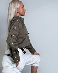 MILITARY CROPPED SHIRT
