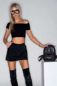 SWAN BLACK CROP TOP TOP -AnnaFoxyCanada