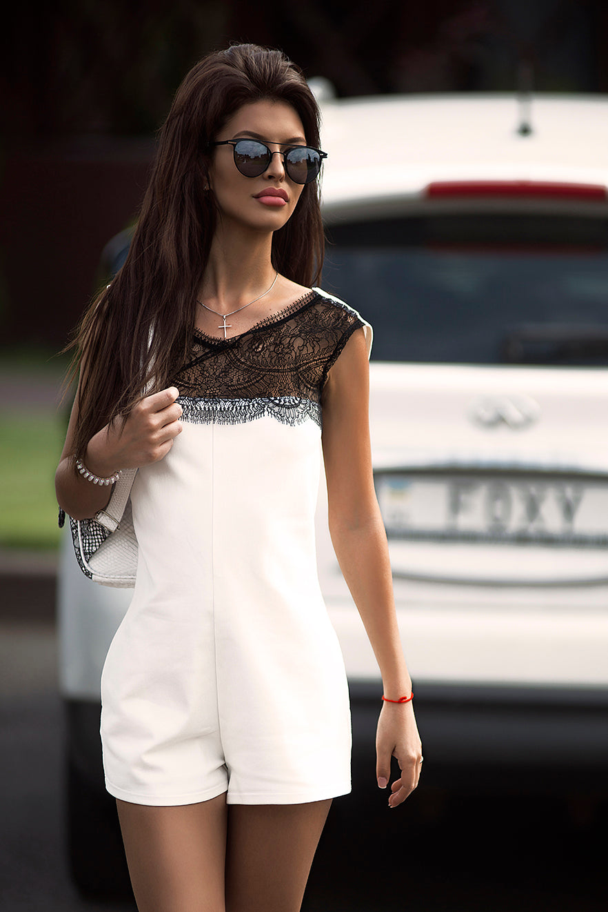 WHITE ROMPER WITH A FRENCH LACE (WITH POCKETS) ROMPER -AnnaFoxyCanada