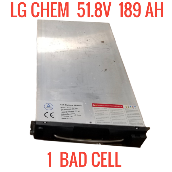 LG CHEM 48V 9.79kWh 51.8V 189AH WITH 1 BAD CELL