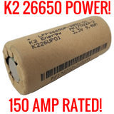 20 K2 26650 LFP26650p 2850mah Lifepo4 Batteries (New)