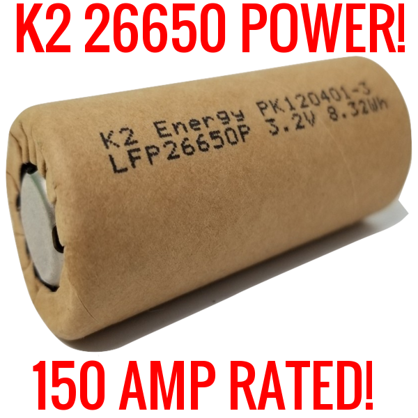 NEW 20 3.2v K2 26650 LFP26650p 2600mah Lifepo4 Batteries - BLANK - Shelf K2