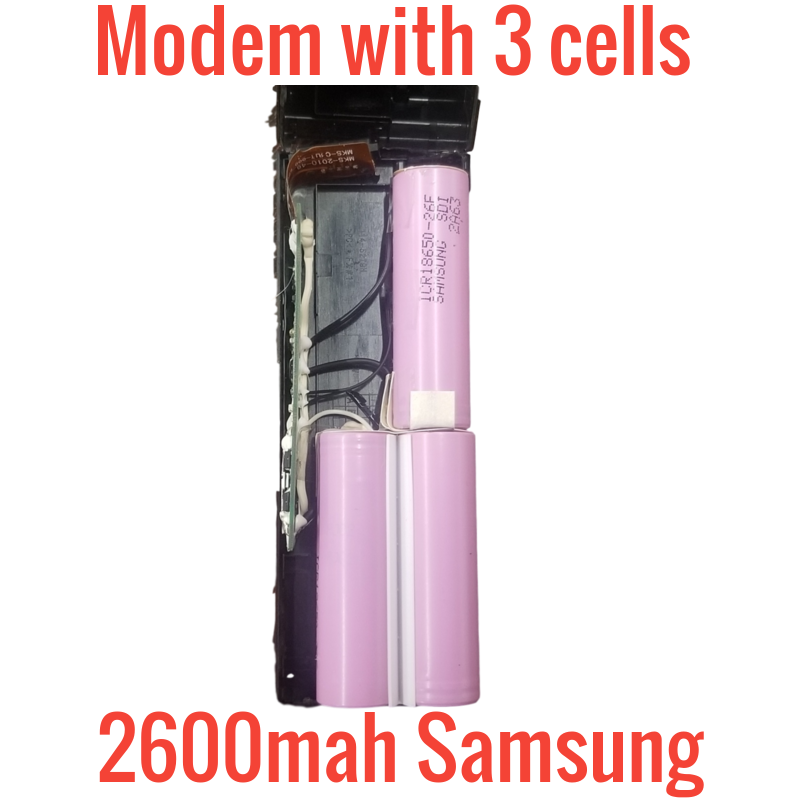 3 SAMSUNG 2600MAH 18650 CELLS IN SMPCM8 MODEMS