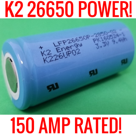 20 K2 26650 LFP26650p 2850mah Lifepo4 Batteries Vinyl (New)