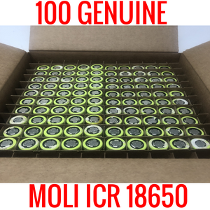 100 18650 Moli ICR 2200 MAH Cells Capacity Tested 80-90%