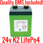 24V 10ah K2 Lifepo4 Batteries (New) with BMS K2B24V10EB