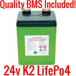 24V 10ah K2 Lifepo4 Batteries (TESTED 90%+ capacity) with BMS K2B24V10EB