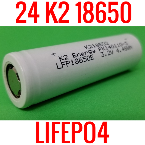 24 NEW K2 LIFEPO4 18650 CELLS 1400MAH LFP18650E 4.48Wh