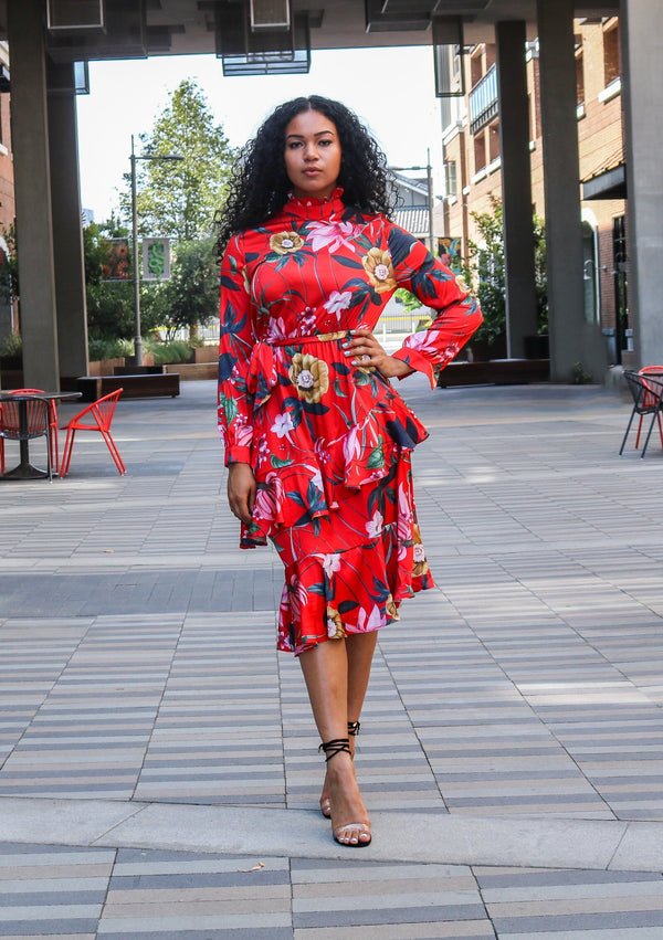 ELLA RED FLORAL PRINT RUFFLE DRESS