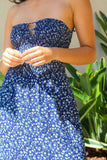 Cai Floral Cut Out Navy Maxi Dress