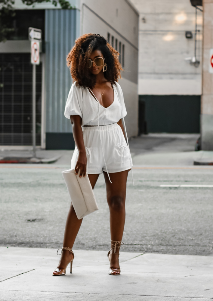 Remi White Linen Short Set