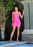 Jordi Pink Shoulder Tie Dress